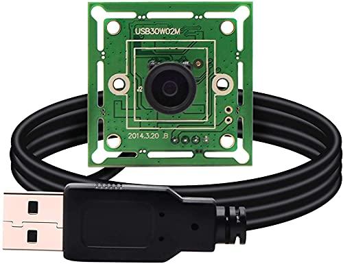 ELP Modulo fotocamera USB da 0,3 MP 1/4' CMOS OV7725 con obiettivo M7 100 gradi 640 x 480 @ 60 fps USB 2.0 Conformità UVC Super Mini 32 x 32 mm USB Camera USB30W02M-MHV100