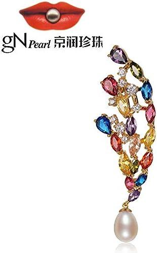 XIONGZ Perle Ivre en Alliage de cuivre Rouge avec Perle d'Eau Douce, Bijoux de Mode en Forme de Goutte