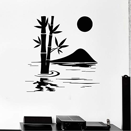 Cyalla Bamboe met Lake Wall Decals Natuur Home Decoratie Art Mural Kamer Vinyl Stickers Verwijderbare Home Decor Wallpaper 56 * 58Cm