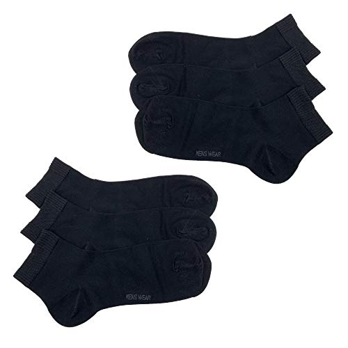 Laake 6 Paar Herren Socken Premium Kurzsocken Bambussocken handgekettelte Spitze (schwarz, 39-42)