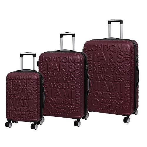 it Equipaje 3 Piezas Destinations II - 8 Ruedas de cáscara Dura de una Sola Caja expandible con TSA Lock Maleta 80 cm, Vino Oscuro (Rojo) - 16-2261-08GLO3N-S396