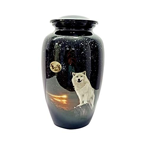 "CUERO URNS White Wolf Night Full Moon Cremation Urn for Human Ashes - Adult Funeral Urn Handcrafted - Affordable Urn for Ashes (Adult (200 lbs) – 10.5 x 6 "", White Wolf Night Full Moon Cremation Urn)"