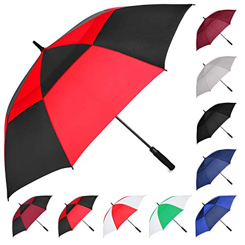 MRTLLOA Automatic Open Golf Umbrella, 62/68 Inch Extra-Large Oversized Double Canopy Vented Windproof Waterproof Stick Rain Golf Umbrellas for Men and Women(Red Black/62 in)