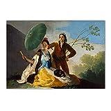 Hbdjns フランシスコ・ゴヤ《日傘、1777》キャンバスウォールアート油絵ポスター写真壁の装飾家の装飾ポスター-60X80Cmx1フレームなし