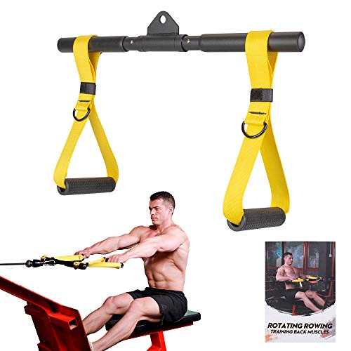 Cable Machine Attachments Rowing Handle Detachable | Multiple Options: Rotating Straight Bar, Tricep Rope, Exercise Handles