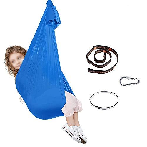 WCX Columpio Swing Hamaca Oscilación Columpio De Terapia Colgante Infantil De Jardin Exterior Interior para Niños con Necesidades Especiales con Autismo (Color : Blue, Size : 100 * 280CM/39 * 110in)