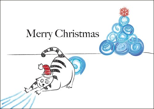 Lot de 5: Carte de Noël drôle. Carte-Cadeau/Carte de voeux pour Noël avec Un Chat et l'arbre de Noël de Boules de Neige: Merry Christmas - avec enveloppe