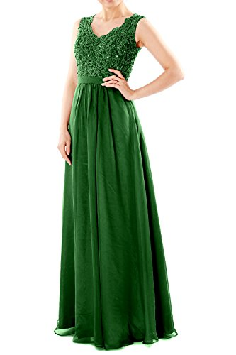 MACloth Women V Neck Lace Chiffon Long Prom Dresses Formal Party Evening Gown (48, Dark Green)