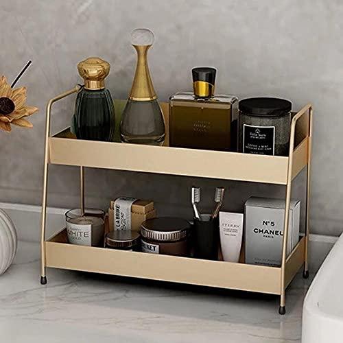 Gran Capacidad Capas Dobles Estante de Almacenamiento de artículos Diversos Caja organizadora de cosméticos Estante de exhibición de perfumes Cocina Baño-Gold_Double_Deck