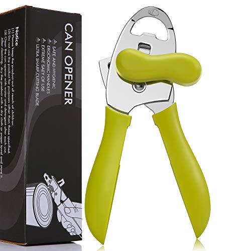 Abrelatas manual, borde suave, herramientas de corte ultra afiladas, duradero, 4 en 1, abridor de latas de acero inoxidable, color verde