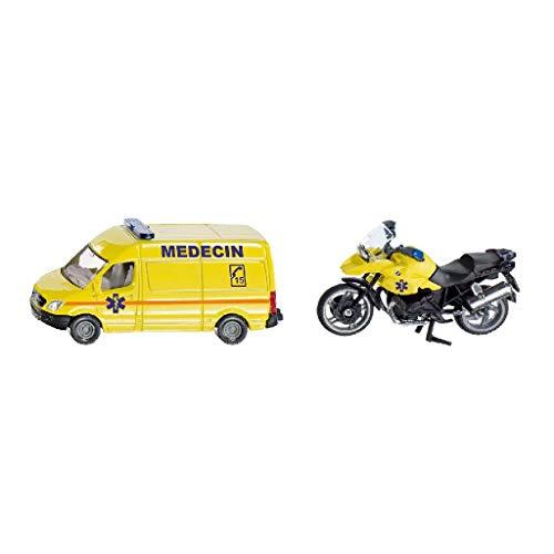 Siku 1654001, Rettungsdienst-Set Frankreich, Metall/Kunststoff, Gelb, Spielkombination, Mit Anhängerkupplung
