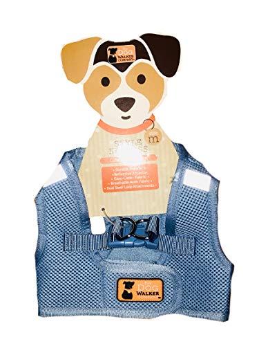 The Dog Walker Company Reflector Accent Harness | Medium 15-20 Lbs (Light Blue)