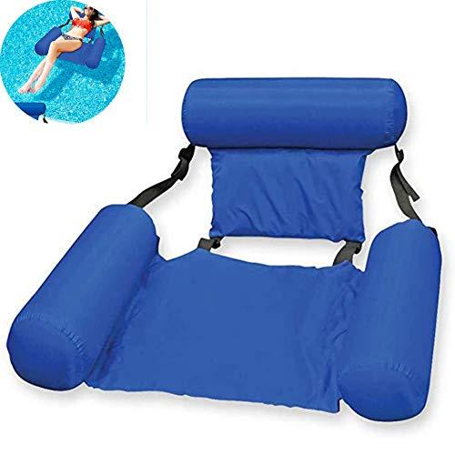 AETOSES Sillón reclinable Flotante, Flotador de Piscina Inflable multipropósito 4 en 1, Silla de Agua para natación con Asiento en U, sillón reclinable Lavable Water Play Sofá Cama Flotante, Azul