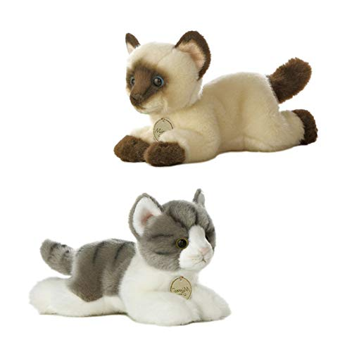 BBA SUNRISE, AURORA Bundle of 2 Cute Stuffed Cats, Stuffed Animals for Baby & Kids, Cat Plush Grey 8' and Siamese 8', Set of 2 Cute Cats, Quality Stuffed Animals - Small Stuffed cat for Baby