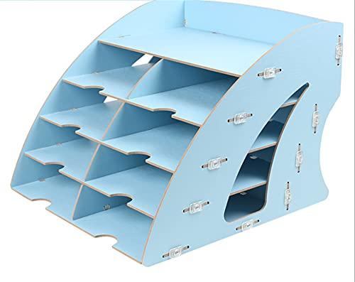 Vast 5 Tier Blue Legno Letter Letter Fixing Tray Organizer Desk Deposito file Stoccaggio per documento A4 Carta Letter Magazine Portabicchieri in legno Portabicchieri Riempimento, Desktop per ufficio