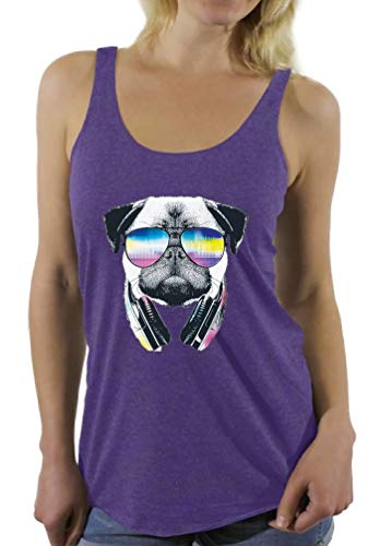 Awkwardstyles Women's Pug Music Revision Sayings Racerback Tank Tops + Bookmark S Purple