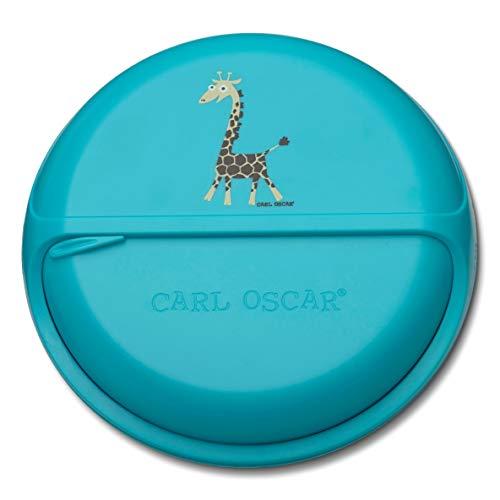 Carl Oscar SnackDISC - Drehbare Snackbox mit 5 Fächern   Kleine Vesperdose, Unterteilte Snackdose für Kinder   Kindergarten, Schule, Unterwegs (Türkis)