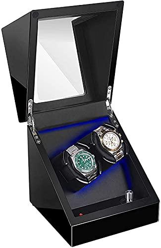 YUNLILI Relojes portátiles Winder 2 Relojes, Estuche automático para Hombres y Mujeres Regalo, luz LED, Motor silencioso (Color : Black)
