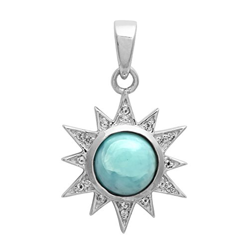 Plata esterlina 925 redonda Larimar con blanco topacio piedras preciosas Chakra colgante