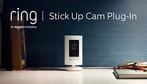 Ring Stick Up Cam Plug-In von Amazon, WLAN HD-Überwachungskamera Innen/Aussen mit Gegensprechfunktion, funktioniert mit Alexa| Mit 30-tägigem Testzeitraum für Ring Protect | Weiß