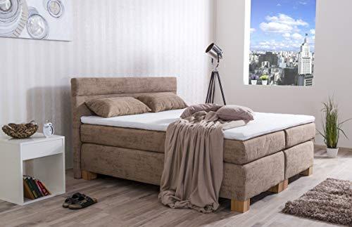 MeineMatratze24 Boxspringbett Bill | Direkt vom Hersteller | 7-Zonen Taschenfederkern-Matratze H2 / H3 / H4 und Topper Aufbau | Hotelbett Doppelbett | (160 x 200 cm)