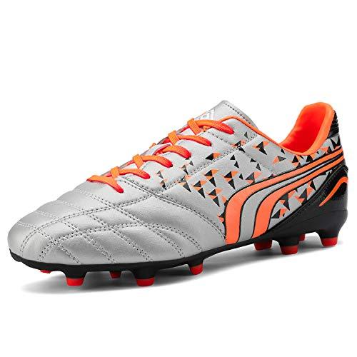 DREAM PAIRS Herren Leichte Fußballschuhe Erwachsene Atmungsaktive Stollen Football Schuhe Grau Orange Schwarz Größe 7 M US / 39.5 EU