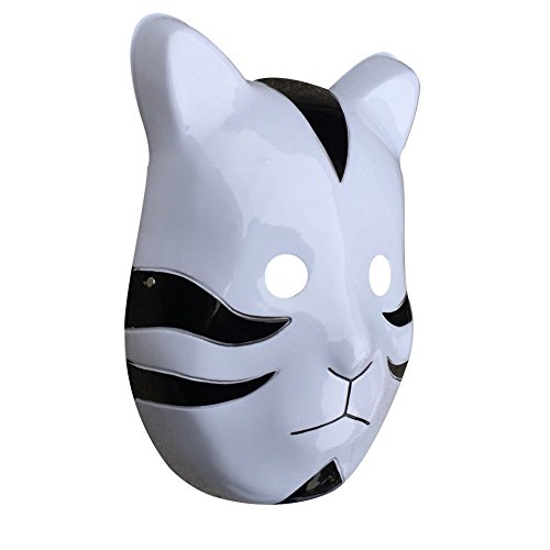 YangYong Cosplay Japanese Cat Mask, Plastic Comic and Anime Ninja Costume Masks (Medium-Full Face, A)