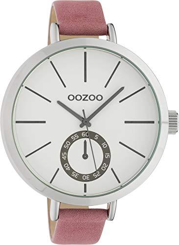 Oozoo Damenuhr mit Lederband XXL 48 MM Weiß/Rosa C10464