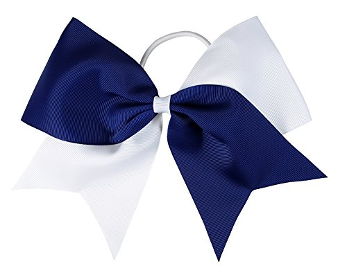 Cheer Bows for Hair-HipGirl Women 6' Jumbo Extra Large Cheer Bows, Elastic Cheer Ponytail Hair Holder, Cheerleading Hair Bows 2ct Glitter or Solid Cheer Bows (Navy Blue and White)
