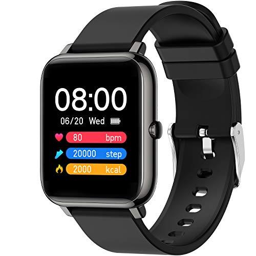 Zagzog Smartwatch, Zagzog Fitness Tracker 1,4 Zoll Touchscreen Smartwatches mit Pulsmesser Schlafmonitor Schrittzähler IP68 Wasserdicht Sportuhr Android iOS Kompatibel, für Damen Herren Kinder (Schwarz)