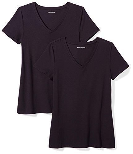Amazon Essentials Damen-T-Shirt, klassisch, kurzärmlig, V-Ausschnitt, 2er-Pack, black, Medium