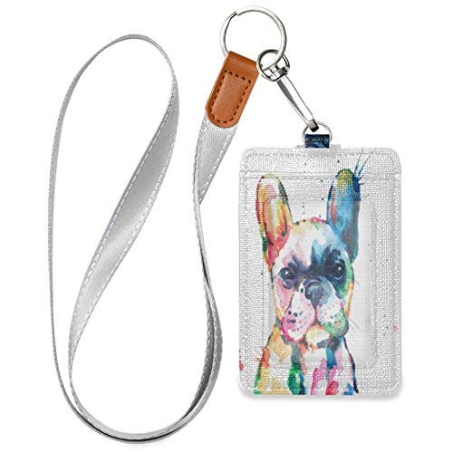HMZXZ Watercolor French Bulldog ID Badge Holder with Lanyard Detachable Keychain PU Leather Vertical ID Card Case for Woman Men Teacher Office Worker Student