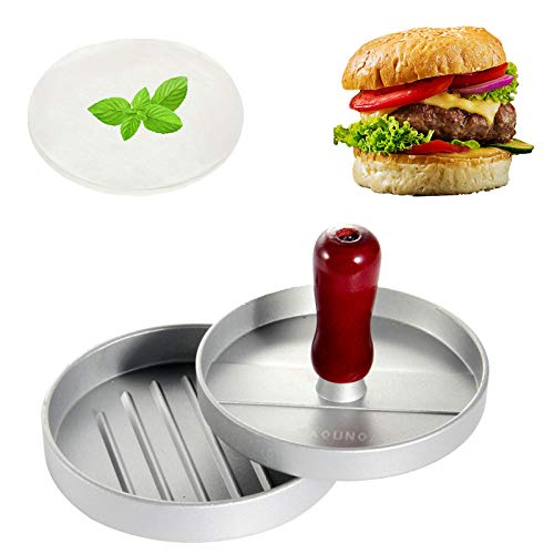 Hamburger Press Patty Maker, 4.5 Inch Aluminum Burger Press, TAOUNOA Non-Stick Hamburger Press for Making Patties, for grilling and cooking, with 50 PCS Wax Papers.