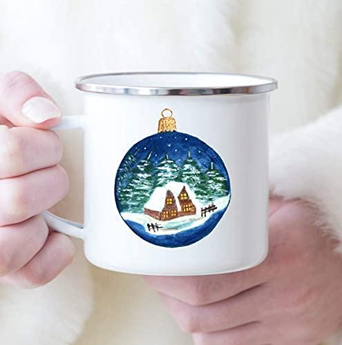 Cozy Cabin Christmas Ornament Coffee Mug Gift Tea Cup White 11 oz