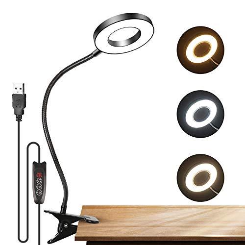 LED-Leselampe,Leselampe Bett Klemme 3-Stufen Farbtemperatur, 360 °Flexibler Schwanenhals Clip Tischlampe Augenschutz Schreibtischlampe Tragbar für Büro, Lesen, Studieren (Amarillo1)