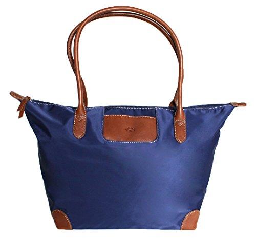 Sac à main nylon toile et cuir - Cabas - 5 coloris - Grand format - (Marine)