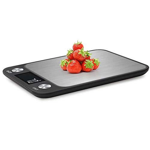 YLJJ Báscula de Cocina Digital para cocinar, Hornear, Alimentos de Alta precisión, Pantalla LCD, fácil de Limpiar, Negro (10 kg / 1 g), 22,5 x 16,5 x 1,9 cm