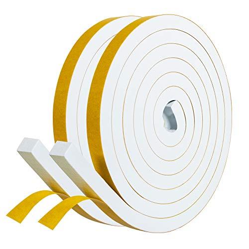 Selbstklebend Schaumstoff 12mm(B) x12mm(D) Dichtungsband selbstklebend Fenster-Türdichtung kochheld, Gummidichtung für Kollision Siegel Schalldämmung Gesamtlänge 4m (2 Rollen je 2m lang) Weiß