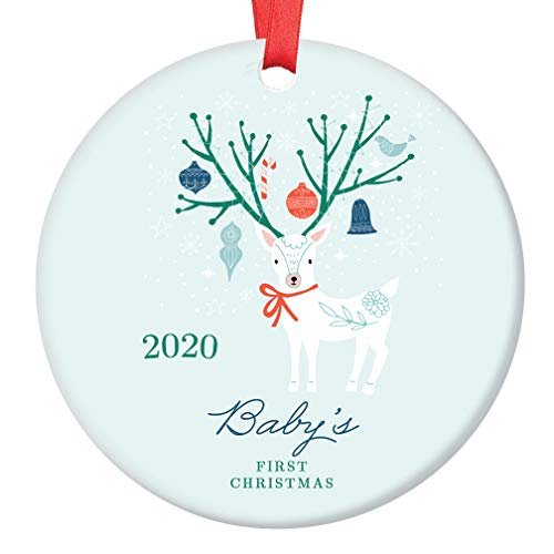 Bunny Rabbit Porcelain Ornament DIGIBUDDHA Mommy Ornament New Mother 1st Christmas as a Mommy Ribbon /& Free Box 3 Flat Circle Christmas Ornament with Glossy Glaze OR00070