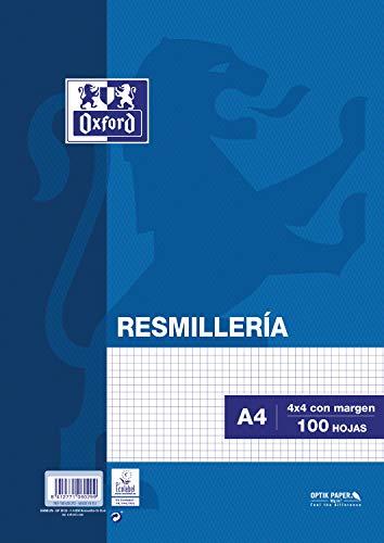 Oxford Classic Resmillería Paquete 100 Hojas, A4, Cuadrícula 4 x 4 con Margen