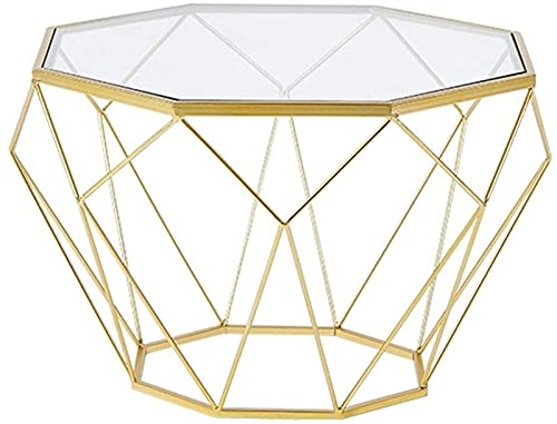 KKY-ENTER 4, Round Furniture Tables/Coffee Side Tables for Home Living Room,Clear Tempered Glass Top, Gold Metal Frame End Table (Size : 56×40cm)