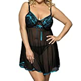 MUNIU Lingerie for Women Lace Babydoll Dress Backless Halter Chemise(Blue S)