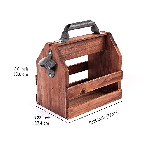 SSXD Botelleros Cerveza Caddy Bar Tool Abrebotellas de Cerveza de Acero Inoxidable Cestas de Vino de Madera Divertidas Beer Caddy Apilable (Color : Coffee)