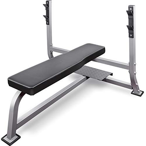 Merax Weight Bench with Barbell Rack, Multifunctional Workout Station for Home Gym Weightlifting and Strength Training (Silver)
