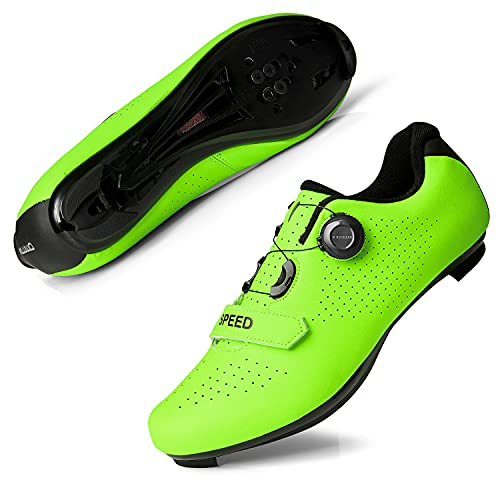 Women's Road Bike Cycling Shoes Indoor Peloton Shoes - Compatible with SPD and Delta Cleats,Bicycle Shoe for Women Green Size 6.5