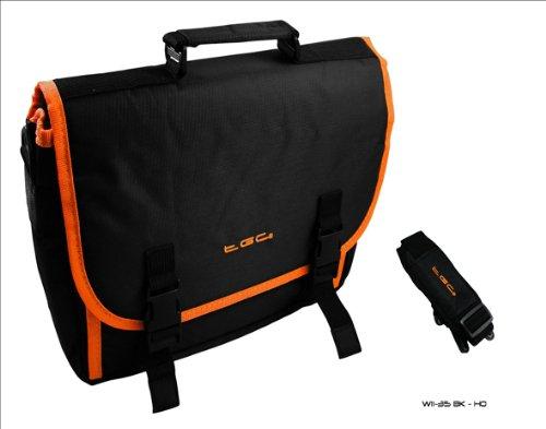 Black & Hot Orange Trim Messenger Style Case Bag 4 Amazon Kindle Touch 3G...