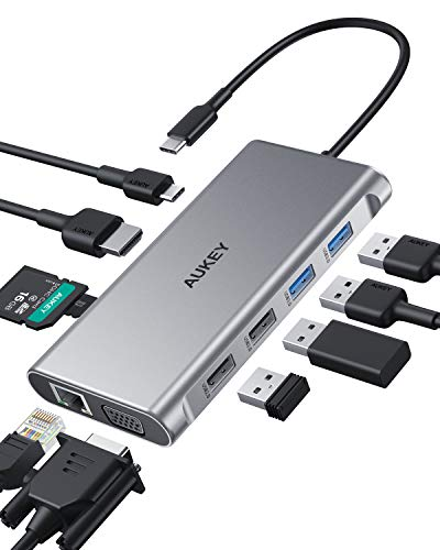 AUKEY USB C Hub 10 in 1 Tipo C con Ethernet, HDMI 4K, VGA, 2 USB 3.0, USB 2.0, 100 W PD, porta dati USB-C e docking station SD/TF per MacBookPro/Air (Thunderbolt 3)
