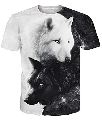 Fanient Herren Damen Aufdruck T-Shirt Rundhals Tee S M L XL XXL, Katze-surf, M