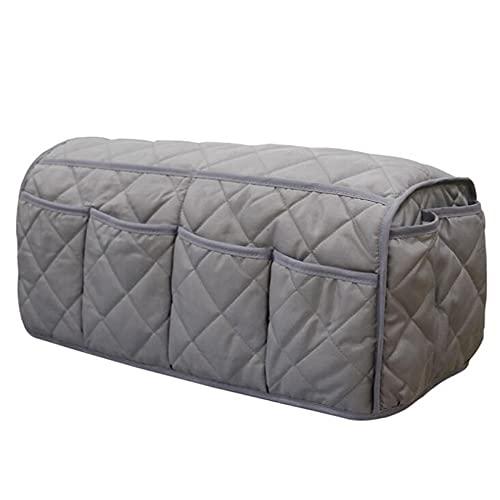 GLJYG Organizador de sofá y silla, de algodón, con reposabrazos, bolsa de almacenamiento colgante, mando a distancia, con soporte para botellas de agua, adecuado para sofá, mesita de noche, color gris