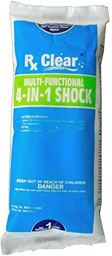 Rx Clear Multi-Functional 4-in-1 Swimming Pool Shock | 99% Sodium Dichloro-s-Triazinetrione Dihydrate | Kills Bacteria and Algae | One-Pound Bags | Single Pack